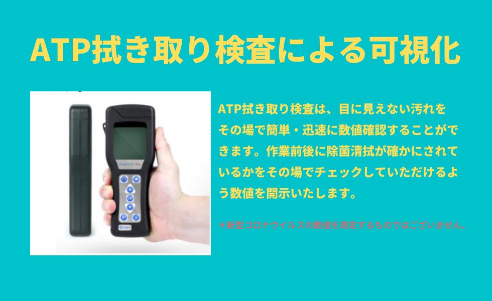 ATP拭き取り検査による可視化